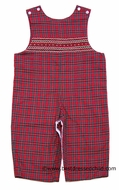 Anavini Baby / Toddler Boys Red Christmas Plaid Smocked LONGALL