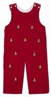 Anavini Baby / Toddler Boys Red Corduroy / Green Embroidered Christmas Trees Longall