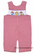 Anavini Baby / Toddler Boys Red Gingham Smocked Circus Tents LONGALL