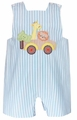 Anavini Baby / Toddler Boys Reversible Turquoise Striped Shortall - Zoo Animals / Turtle