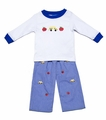 Anavini Baby / Toddler Boys Royal Blue Gingham Embroidery Pants with Apple / School Bus Shirt