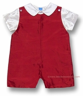Anavini Baby / Toddler Boys Silk Shortall with Shirt - Christmas RED