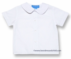 Anavini Baby / Toddler Boys White Dress Shirt with Collar - Short Sleeves