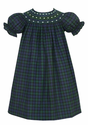 Anavini baby toddler girls blue green blackwatch plaid smocked dress bi - Plaid bebe petit pan ...