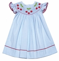 Anavini Velani Baby / Toddler Girls Blue Seersucker Smocked Red Cherries Dress