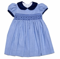 Anavini Baby / Toddler Girls Blue Twill Smocked Float Dress - Navy Blue Collar