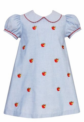 Anavini Girls Blue Oxford School Dress With Embroidered