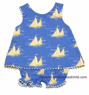 Anavini Baby / Toddler Girls Emma Blue with Yellow Sailboats Print Bloomers Set