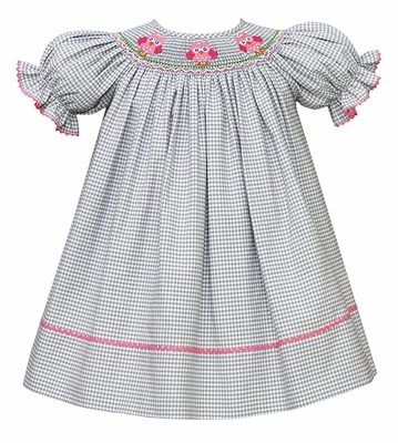 Perfect for Chi-O! The red fabric compliments the smocked owls so nicely.