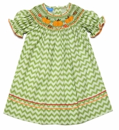 Anavini Baby / Toddler Girls Green Chevron Smocked Orange Pumpkins Bishop Dress