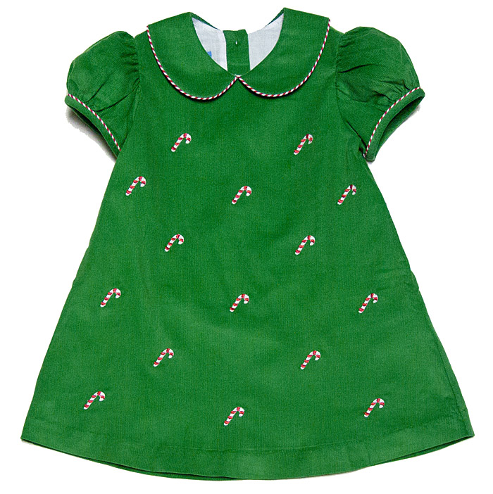 Anavini Baby Toddler Girls Green Corduroy Embroidery