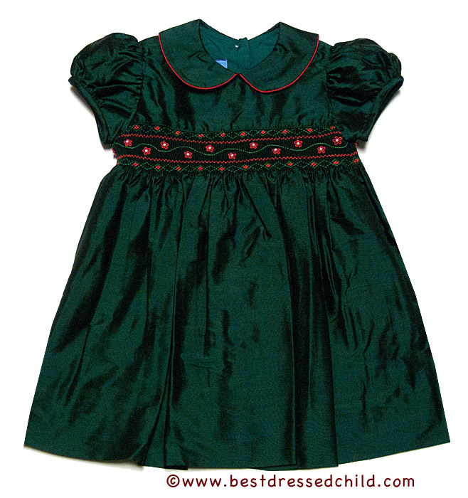 Anavini baby toddler girls green silk smocked christmas float dress