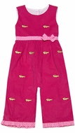 Anavini Baby / Toddler Girls Hot Pink Corduroy Embroidery Alligators Romper