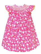 Anavini Baby / Toddler Girls Hot Pink Crabs Print Smocked Bishop Dress