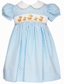Anavini Baby / Toddler Girls Light Blue Dots Smocked Easter Ducks Dress