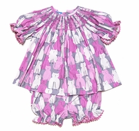 Anavini Baby / Toddler Girls Pink / Gray Kitty Cat Print Smocked Bloomers Set
