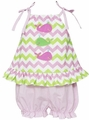 Anavini Baby / Toddler Girls Pink / Green Chevron Applique Whales Bloomers Outfit