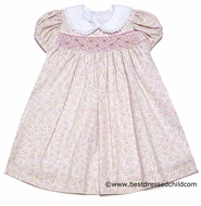 Anavini Baby / Toddler Girls Pink / Green Mini Floral Smocked Dress with Collar
