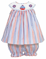 Anavini Baby / Toddler Girls Red / Blue Striped Smocked Sailboats Bloomers Set