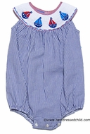 Anavini Baby / Toddler Girls Smocked Sail Boats Bubble - Blue Gingham Seersucker