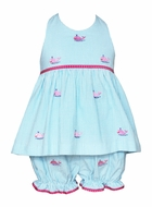 Anavini Baby / Toddler Girls Turquoise Gingham / Pink Embroidery Whales Halter Bloomers Set