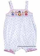 Anavini Baby / Toddler Girls White / Blue Dots Smocked Princess Bubble