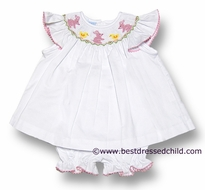 Anavini Baby / Toddler Girls White Pique Smocked Pink Easter Bunny / Yellow Chicks - Bloomers Set