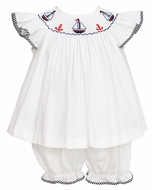 Anavini Baby / Toddler Girls White Pique Smocked Sailboats Bloomers Set