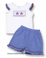 Anavini Blue Mini Gingham Ruffle Shorts Set with Smocked Patriotic Stars Top - GIRL