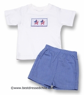 Anavini Blue Mini Gingham Shorts Set with Smocked American Stars - BOY