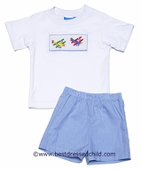 Anavini Boys Blue Gingham Shorts with Smocked Airplanes Shirt
