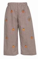 Anavini Boys Brown Gingham Embroidered Pumpkins Pull On Pants