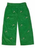 Anavini Boys Green Corduroy / Embroidery Candy Canes Pull On Pants