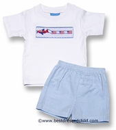 Anavini Boys Light Blue Gingham Seersucker Shorts with Smocked Airplane / American Flags Shirt