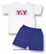 Anavini Boys Royal  Blue Check Shorts with Smocked Lobsters Shirt
