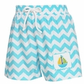 Anavini Boys Turquoise Chevron Swim Trunks - Smocked Sailboat