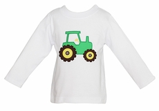 Anavini Boys White Tee Shirt with Applique Big Green Farm Tractor