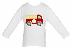 Anavini Boys White Tee Shirt with Applique Red Firetruck