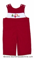 Anavini Christmas Elf on the Shelf Baby / Toddler Boys Red Corduroy Longall - Smocked