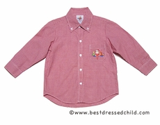 Anavini Christmas Elf on the Shelf Boys Embroidery on Red Gingham Button Down Shirt