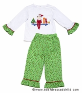 Anavini Christmas Elf on the Shelf Girls Green Dots Ruffle Pants with Applique Top