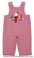 Anavini Elf on the Shelf Baby / Toddler Boys Red Gingham Applique Longall