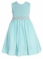Anavini Girls Aqua Gingham Smocked Susan Sleeveless Dress