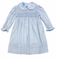 Anavini Girls Blue Floral Twill Dress - Smocked with Collar & Long Sleeves