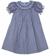 Anavini Girls Blue / Gray & Ivory Dots Smocked Molly Bishop Dress