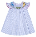 Anavini Girls Blue Plaid Smocked Jungle Safari Zoo Animals Dress
