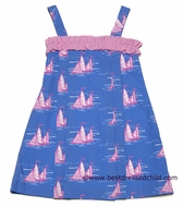 Anavini Girls Blue with Pink Sailboats Angelina Sun Dresses
