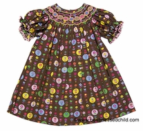 Anavini Girls Brown Fall Floral Sunflower Lauren Smocked Bishop Dress