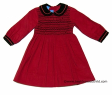 Anavini Girls Christmas Red Corduroy Dressy Long Sleeve Dress - Smocked in Black with Collar