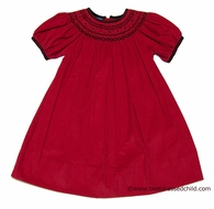 Anavini Girls Christmas Red Corduroy Laurie Dress - Smocked in Black - Bishop Dress